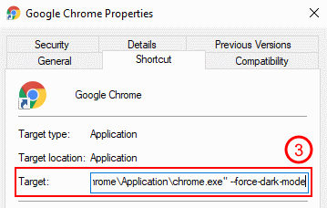 Chrome instructions: add the --force-dark-mode flag