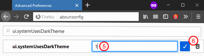 Firefox instructions: setting the property to 'dark mode'